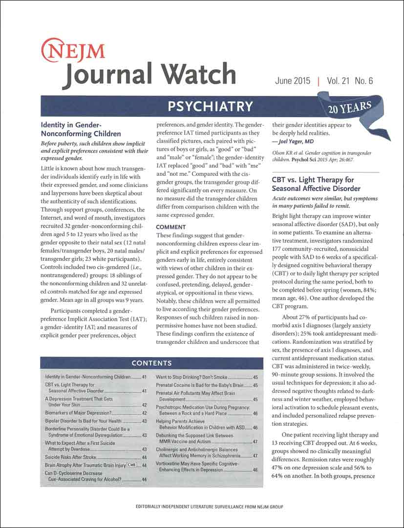 NEJM Journal Watch: Psychiatry
